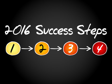 success concept: 2016 Success Steps business concept, chart, diagram, presentation background