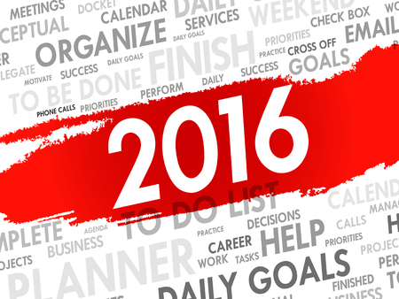 agenda: 2016 TO DO LIST word cloud, business concept background
