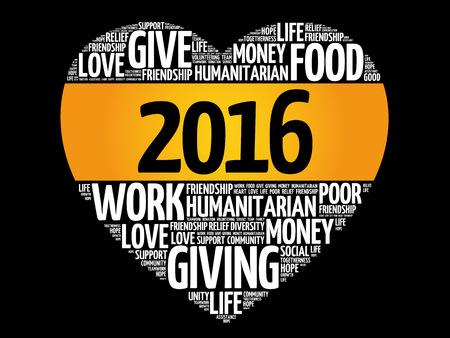 priorities: 2016 Donate, Humanitarian word cloud, heart concept