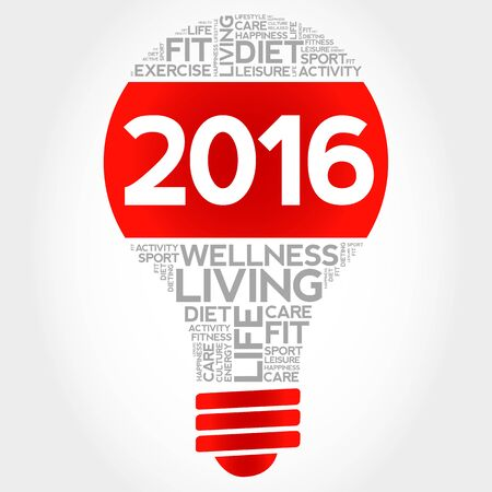 fitness goal: 2016 bulb word cloud, health concept background