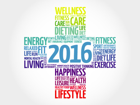 care: 2016 Goals Health word cloud, health cross concept
