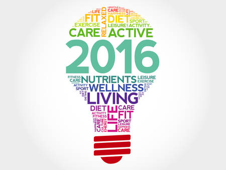 priorities: 2016 bulb word cloud, health concept background