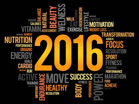 word cloud: 2016 health and sport goals word cloud, concept background