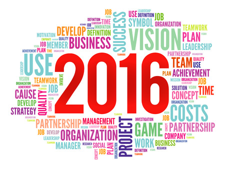 set the intention: 2016 goals plan, project word cloud, business concept background