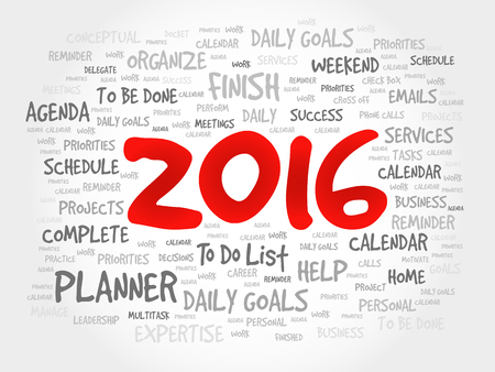 task list: 2016 TO DO LIST word cloud, business concept background