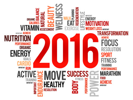 fitness goal: 2016 health and sport goals word cloud, concept background