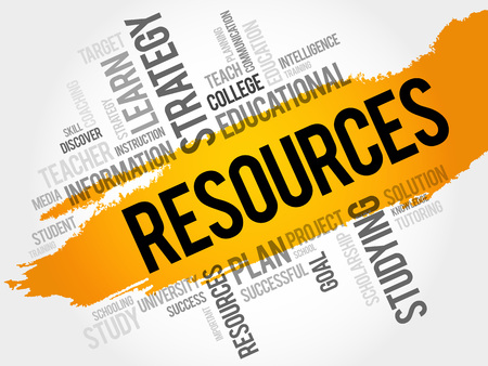 resource: RESOURCES word cloud, education concept