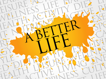 live feeling: A Better Life word cloud, health concept Illustration
