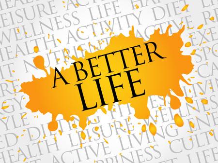A Better Life Wortwolke, Gesundheitskonzept Vektorgrafik