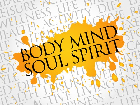Body Mind Soul Spirit word cloud, health concept