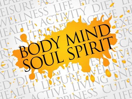 actividad fisica: Mind Body Soul Esp�ritu nube de palabras, el concepto de salud