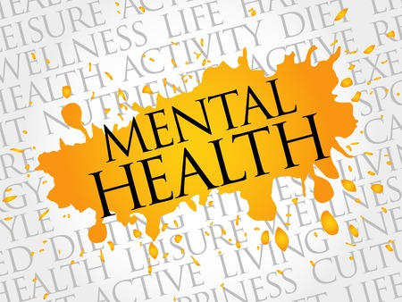 メンタルヘルスの単語の雲、健康概念