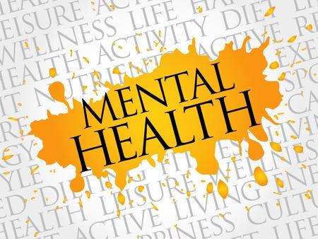 enfermedades mentales: Mental palabra salud nube, concepto de salud