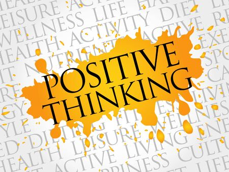 explanatory: Positive thinking word cloud, health concept Illustration