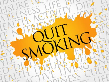 quit: Quit Smoking word cloud, health concept