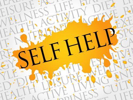 Self Help word cloud, health concept Ilustrace