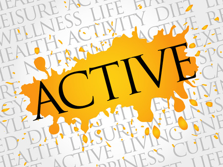 feel good: ACTIVE word cloud, fitness, sport, health concept Illustration