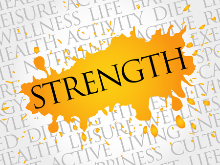 strength: Strength word cloud, health concept Illustration