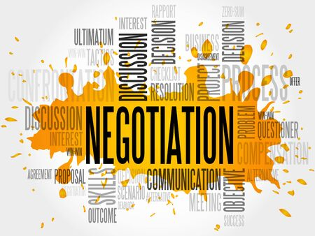 negotiator: Negotiation words cloud business concept Illustration