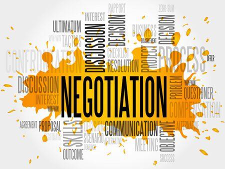 negotiator: Negotiation words cloud business concept Illustration