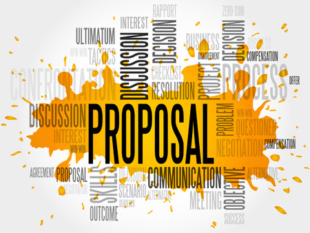 estimating: Proposal word cloud, business concept Illustration