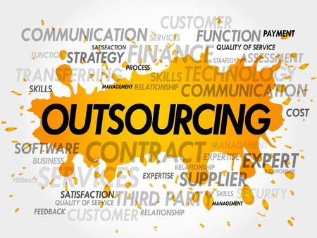 sourcing: Outsourcing word cloud, business concept