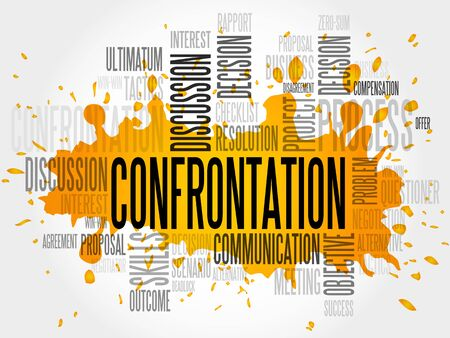 Confrontation word cloud, business concept Illustration