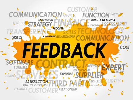feed back: Word Cloud with Feedback related items Illustration