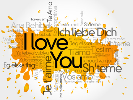 I love you splash in all languages of the world, word cloud