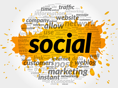 microblogging: Social business concept in word tag cloud Illustration