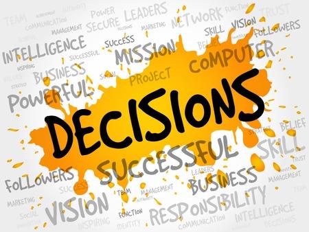 difficult decision: DECISIONS word cloud, business concept Illustration