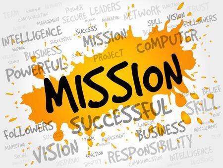 mision: MISIÓN nube de la palabra, concepto de negocio