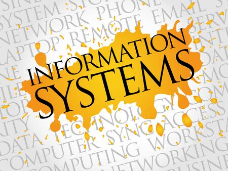 technology collage: Information Systems word cloud concept Illustration