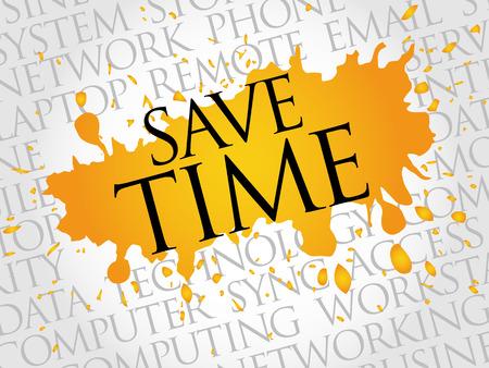 cronologia: Ahorra tiempo concepto de nube de palabras