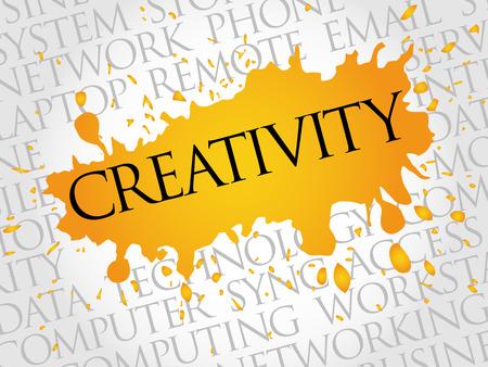 Creatividad concepto de nube de palabras Ilustración de vector