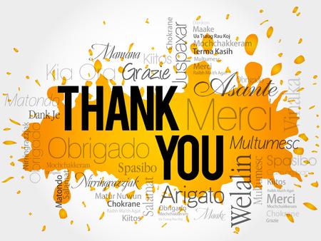 merci: Merci Word Cloud vecteur de fond, toutes les langues Illustration