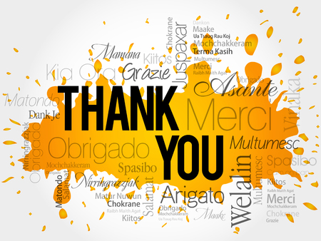 sign language: Thank You Word Cloud vector background, all languages Illustration