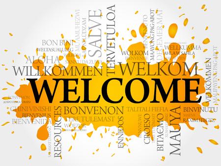 the welcome: Bienvenida en diferentes idiomas concepto de nube de palabras de vectores
