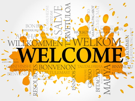 Welcome in different languages word cloud vector concept Illusztráció