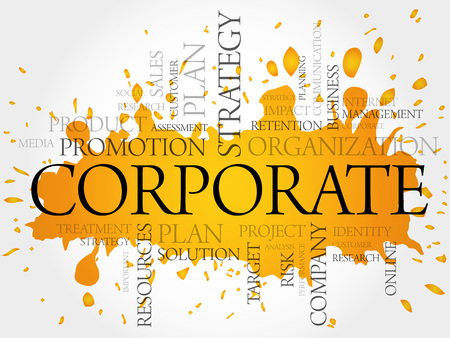management concept: Word Cloud with Corporate related tags, business concept