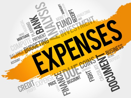 total loss: EXPENSES word cloud, business concept