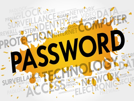 password: PASSWORD word cloud, business concept