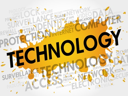 synchronizing: TECHNOLOGY word cloud, business concept Illustration