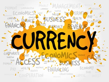 stock price losses: CURRENCY word cloud, business concept Illustration