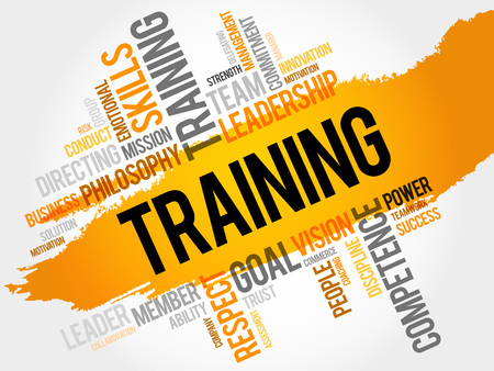 required: TRAINING word cloud, business concept Illustration