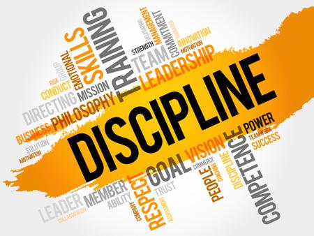 disciplina: DISCIPLINA nube de la palabra, concepto de negocio Vectores