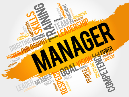 charismatic: MANAGER word cloud, business concept Illustration
