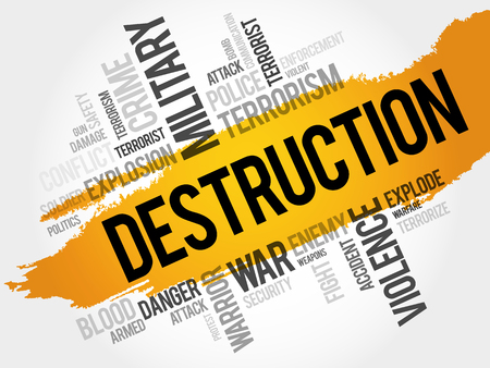 geopolitics: DESTRUCTION word cloud concept Illustration