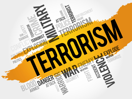 Terrorismo nuvola concetto di parola Vettoriali