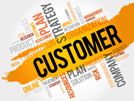satisfied customer: CUSTOMER word cloud, business concept Illustration